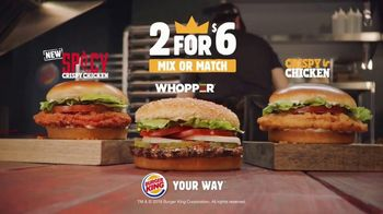 Burger King 2 for $6 TV Spot, 'Spicy Chicken, Crispy Chicken or Whopper' - Thumbnail 5