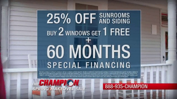 Champion Windows Spring Makeover Sale TV Spot, 'Sunrooms' - Thumbnail 5