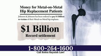 Robin Raynish Law TV Spot, 'Faulty Hip Implants'