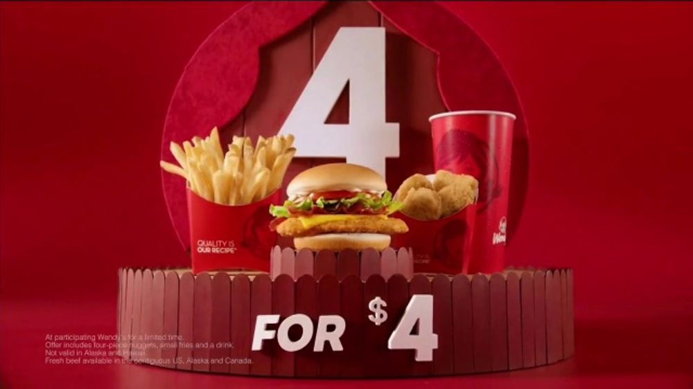 Wendys 4 For TV Commercial Double Stack Cheeseburger Is Back